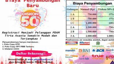 Photo of PDAM Tirta Asasta Diskon 50% Untuk Penyambungan Baru dalam Menyambut HUT RI dan Harpelnas.